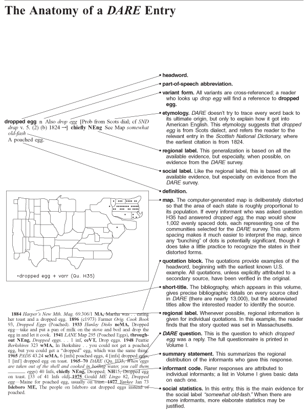 DARE sample entry and map | Dictionary of American Regional English
